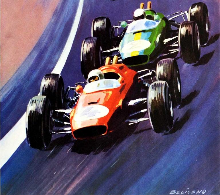 Original Vintage Motorsport Poster Grand Prix D'Europe Formula One Auto Racing - Purple Print by Michel Beligond