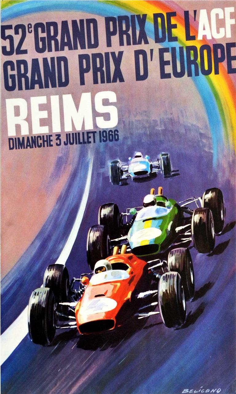 Michel Beligond Print - Original Vintage Motorsport Poster Grand Prix D'Europe Formula One Auto Racing