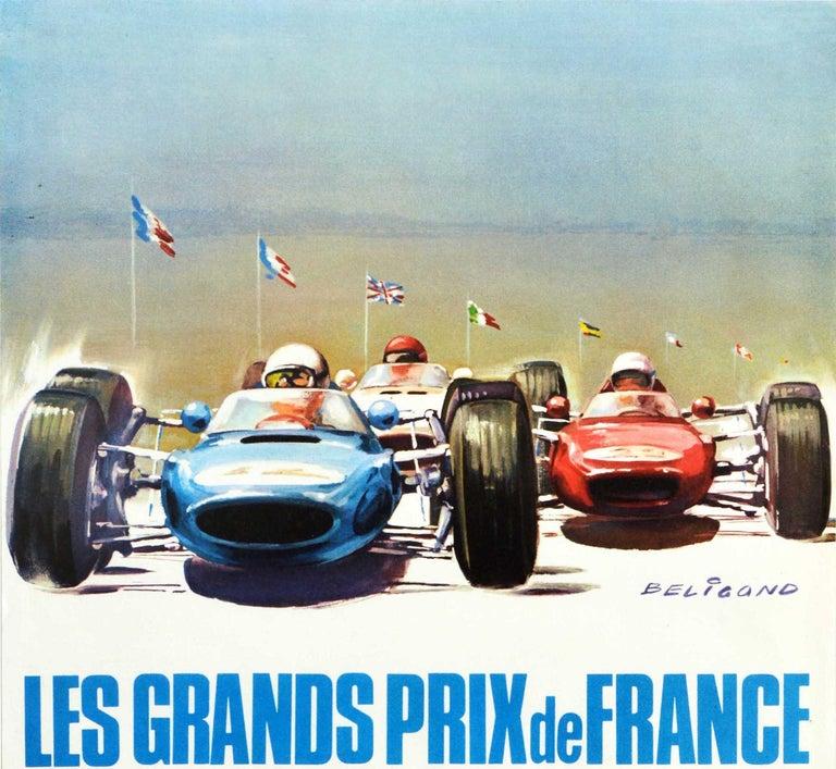Original Vintage Poster Les Grands Prix De France Auto Racing F1 Cars Motorsport - Print by Michel Beligond