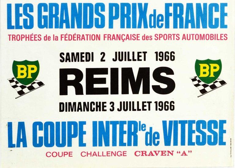 Original Vintage Poster Les Grands Prix De France Auto Racing F1 Cars Motorsport - Gray Print by Michel Beligond