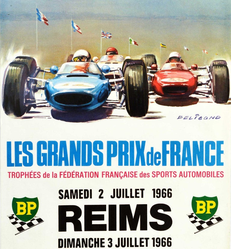 Original vintage Formula 1 auto racing poster for the French Grand Prix / Les Grands Prix de France French Federation Trophy of Motor Sports International Speed Cup Trophy Craven A Challenge Cup on Saturday 2 July and Sunday 3 July 1966 in Reims
