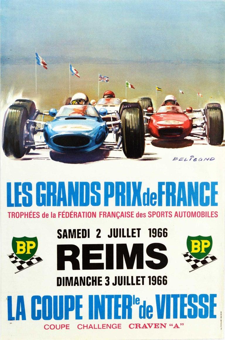 Michel Beligond Print - Original Vintage Poster Les Grands Prix De France Auto Racing F1 Cars Motorsport