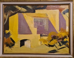 The Open Door, Mid 20th Century Abstract Figurative Landscape.