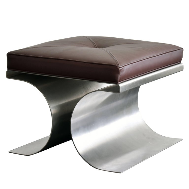 "Michel Boyer, ""X"" Stool, Stainless Steel and Brown Leather Cushion, 1968, French"