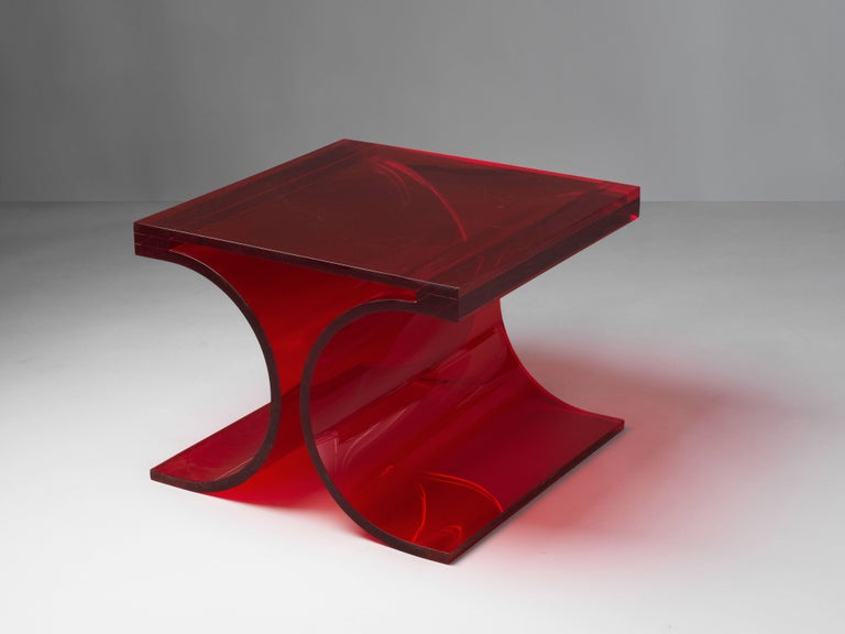 A prototype side table by Michel Boyer & Jean-Pierrre Laporte, made for an exhibition at Silvera in 2009.   Only two examples were ever produced. The form is a continuation of Boyer's iconic stainless steel stool designed in 1968.
