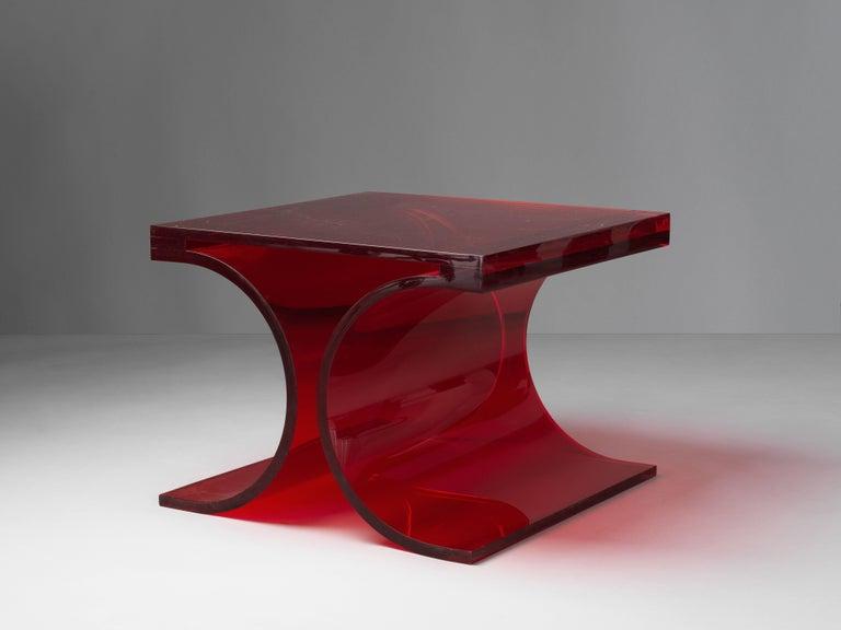 Mid-Century Modern Michel Boyer & Jean-Pierre Laporte, Prototype Side Table, Red Altuglas, 2009 For Sale