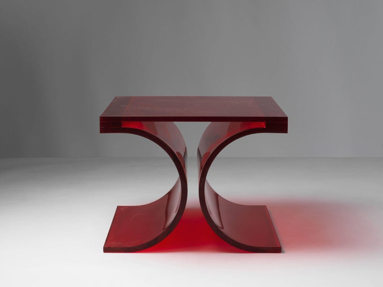 French Michel Boyer & Jean-Pierre Laporte, Prototype Side Table, Red Altuglas, 2009 For Sale