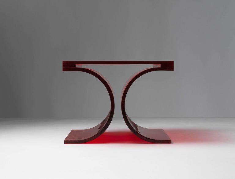 Michel Boyer & Jean-Pierre Laporte, Prototype Side Table, Red Altuglas, 2009 In Excellent Condition For Sale In West Palm Beach, FL