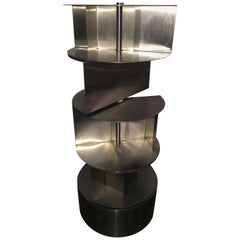 Michel Boyer Large Cylindrical Metal Cabinet, Three Rotating Shelves, 1970
