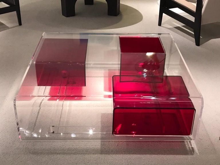 French Michel Boyer Lucite Coffee Table For Sale