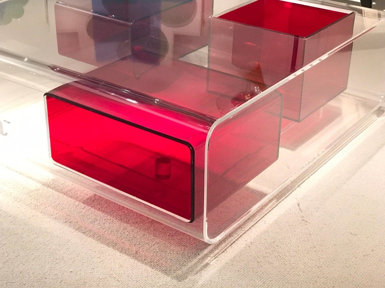 Acrylic Michel Boyer Lucite Coffee Table For Sale