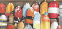 """""""Autumn Buoys"""" photorealistic oil painting of red, yellow and white buoys"""
