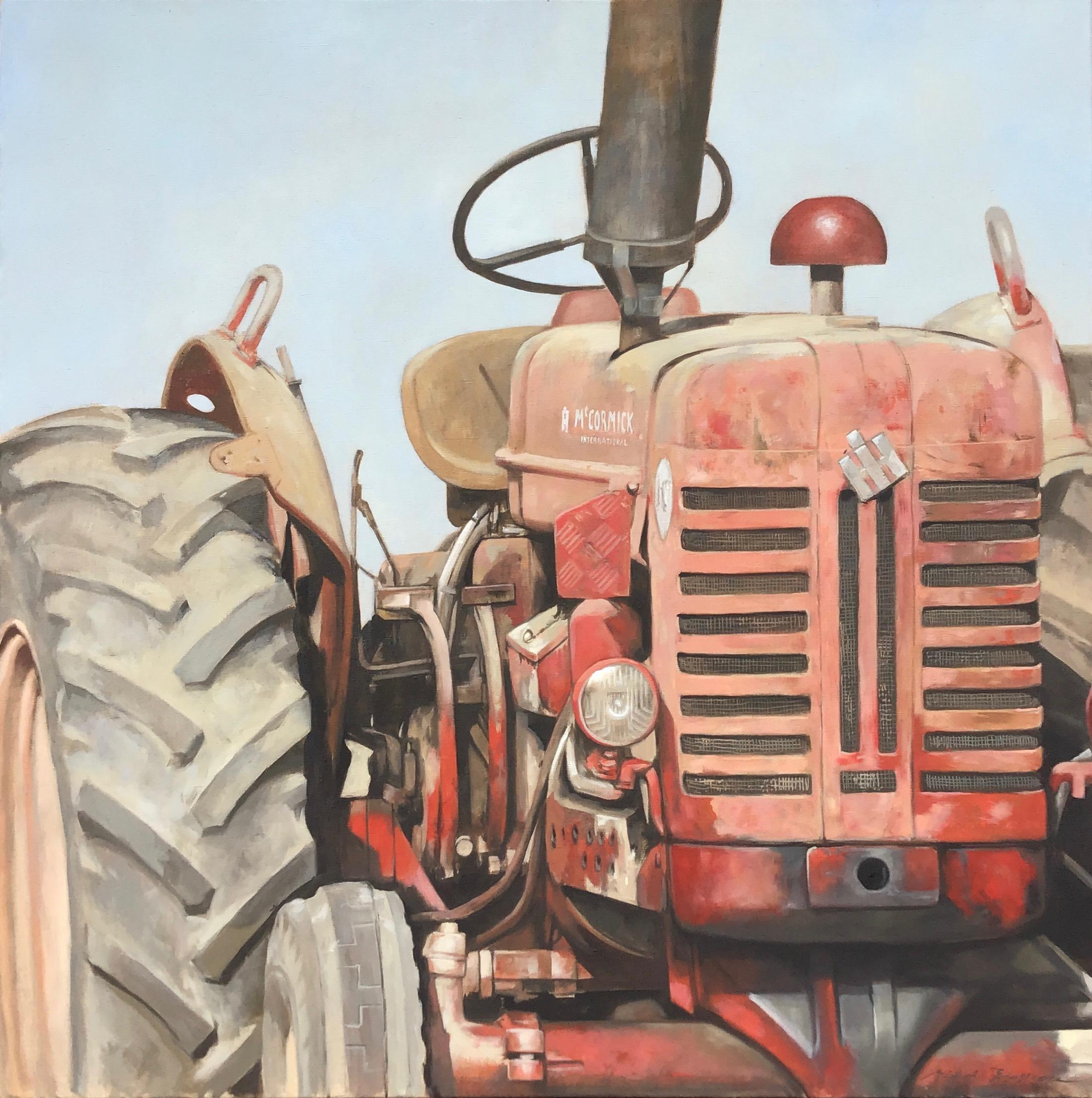 """""""Big Red"""" photorealistic oil painting of an dusty red tractor"""