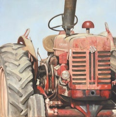 """Big Red"" photorealistic oil painting of an dusty red tractor"