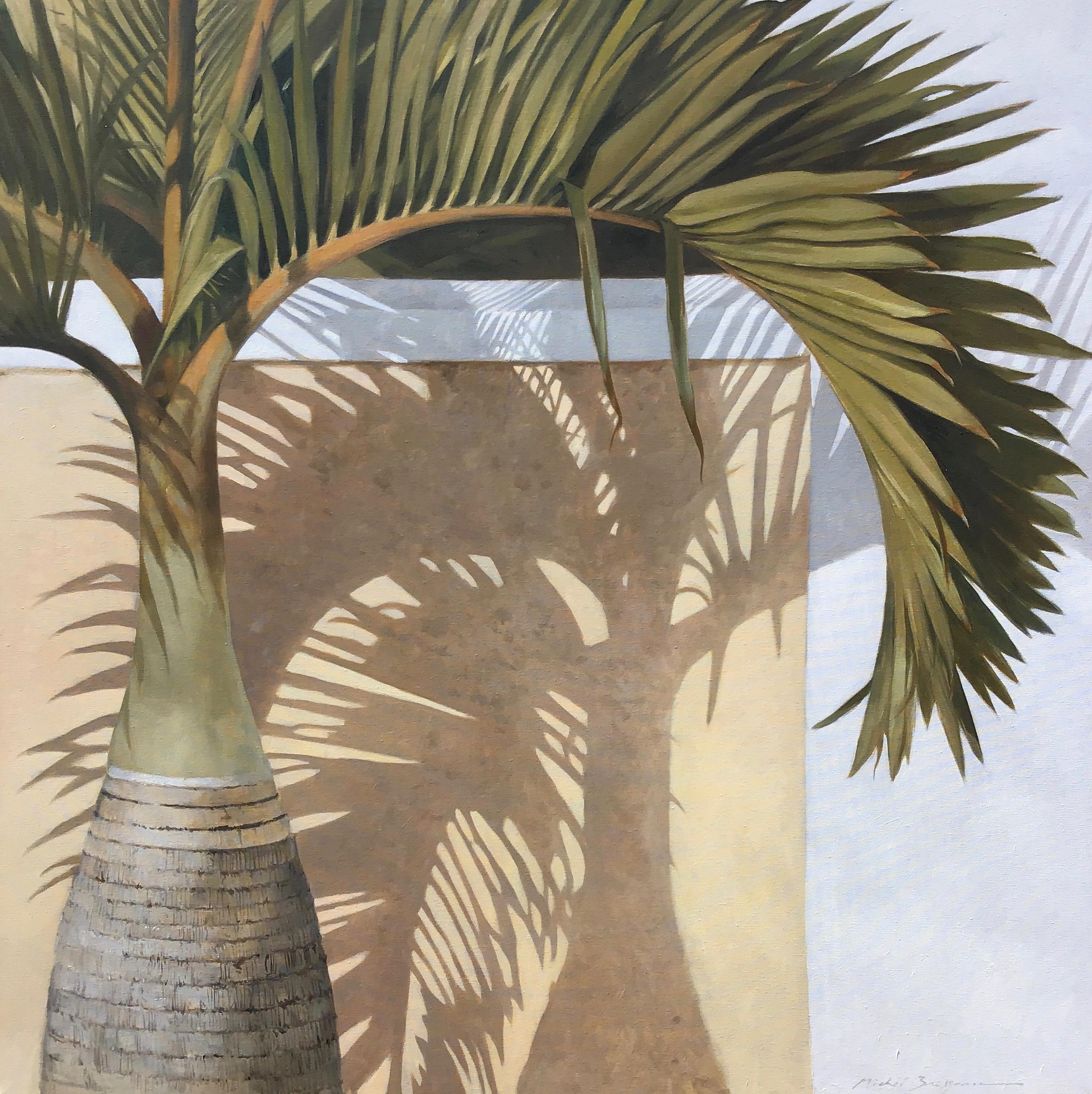 """""""Bottle Palm"""" oil painting of a green palm tree with shadow"""