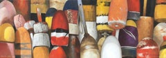 """""""Buoys on October"""" oil painting of red, orange and yellow buoys"""