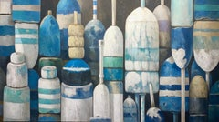 """""""Classic Blues"""" oil painting of lined up buoys in shades of blue and white"""