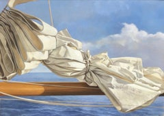 """Cloudy Sail"" Oil painting of a folded white sail with blue ocean behind"