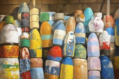 """""""Crayola"""" photorealistic oil painting of colorful buoys against shingles"""
