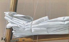 """""""Folded Sail"""" photorealistic oil painting of a white canvas sail on linen"""