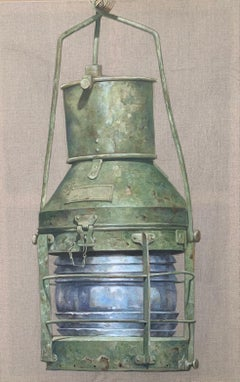 """Green Lantern"" photorealist oil painting on linen of a green nautical lantern"