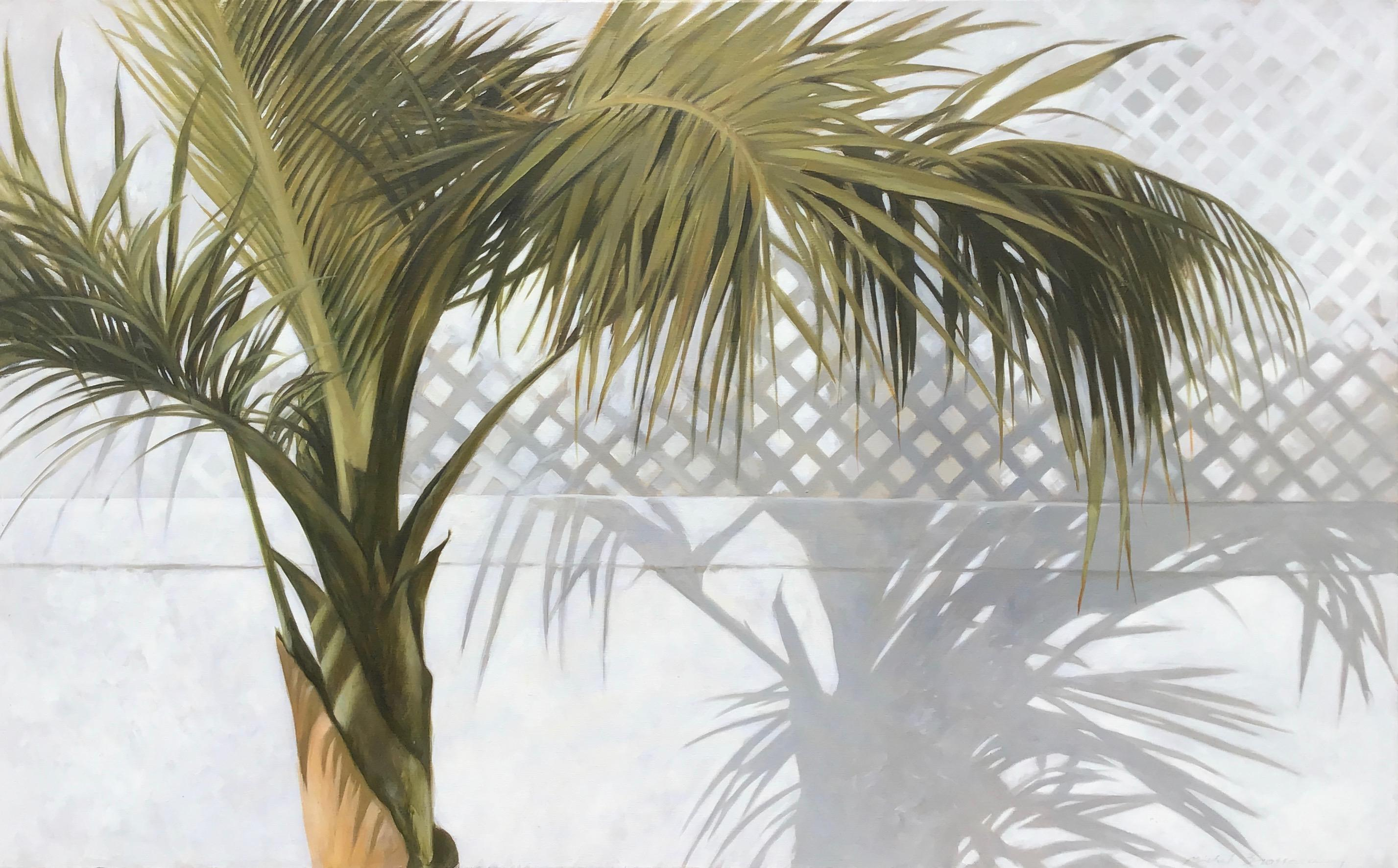 """""""Palm with Shadow"""" oil painting of green palm leaves with a shadow behind"""