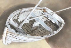 """""""Petit Bateau"""" photorealistic oil painting of a white dinghy on exposed linen"""