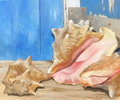 """Pretty in Pink"" oil painting of conch shells in front of a blue door"