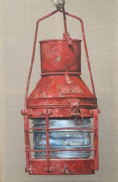 """""""Red Lantern"""" photorealist oil painting of a red nautical lantern on linen"""