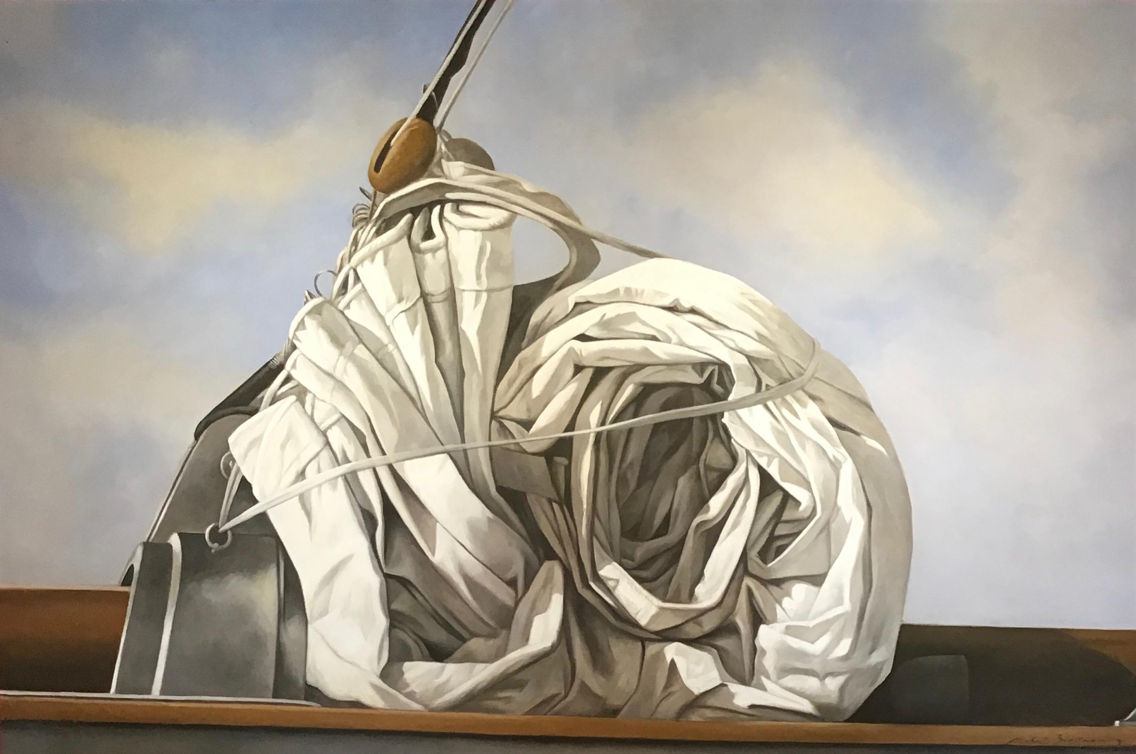 """""""Snail Sail"""" photorealistic oil painting of a rolled sail, blue sky and clouds"""