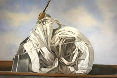 """Snail Sail"" photorealistic oil painting of a rolled sail, blue sky and clouds"
