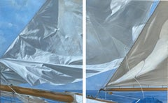 """""""Tall Sails (Diptych)"""" a pair of oil paintings depicting the bow of a ship"""