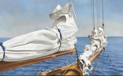"""Tied and True"" oil painting of a folded sail and bow in blue ocean behind"