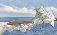 """Tied at Sea"" oil painting of a folded white sail with blue ocean behind"