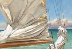 """Top of the Day"" oil painting of a ruched sail with green ocean behind"