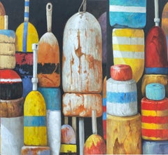 """""""Tropical Buoys (Diptych)"""" oil painting of an array of tropical colored buoys"""
