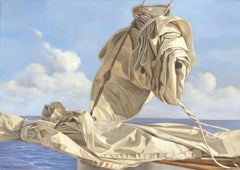 """Voille de Mer"" oil painting of a folded sail with blue ocean behind"