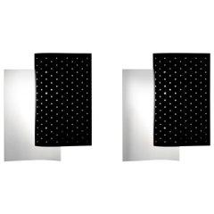 Michel Buffet Mid-Century Modern Black B205 Wall Sconce Lamp Set