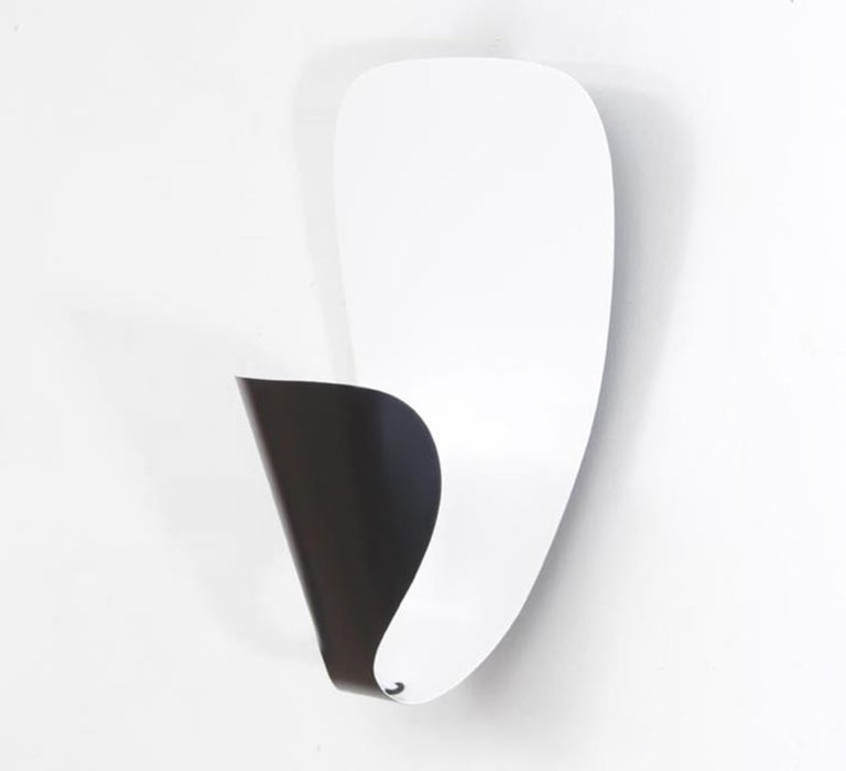 Lacquered Michel Buffet Mid-Century Modern Black B206 Wall Sconce Lamp Set For Sale