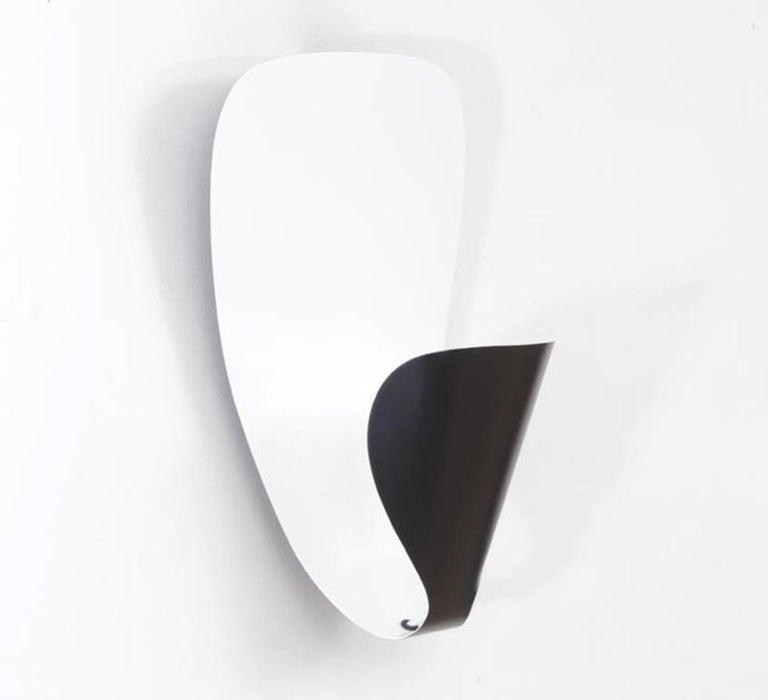 Aluminum Michel Buffet Mid-Century Modern Black B206 Wall Sconce Lamp Set For Sale