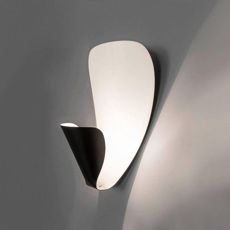 Michel Buffet Mid-Century Modern Black B206 Wall Sconce Lamp Set For Sale 1
