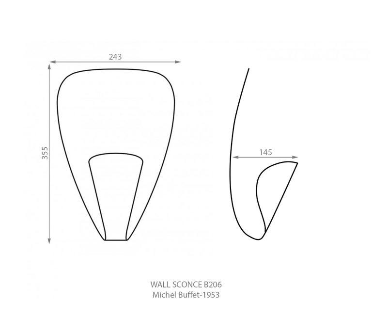 Michel Buffet Mid-Century Modern Black B206 Wall Sconce Lamp Set For Sale 2
