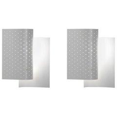 Michel Buffet Mid-Century Modern White B205 Wall Sconce Lamp Set