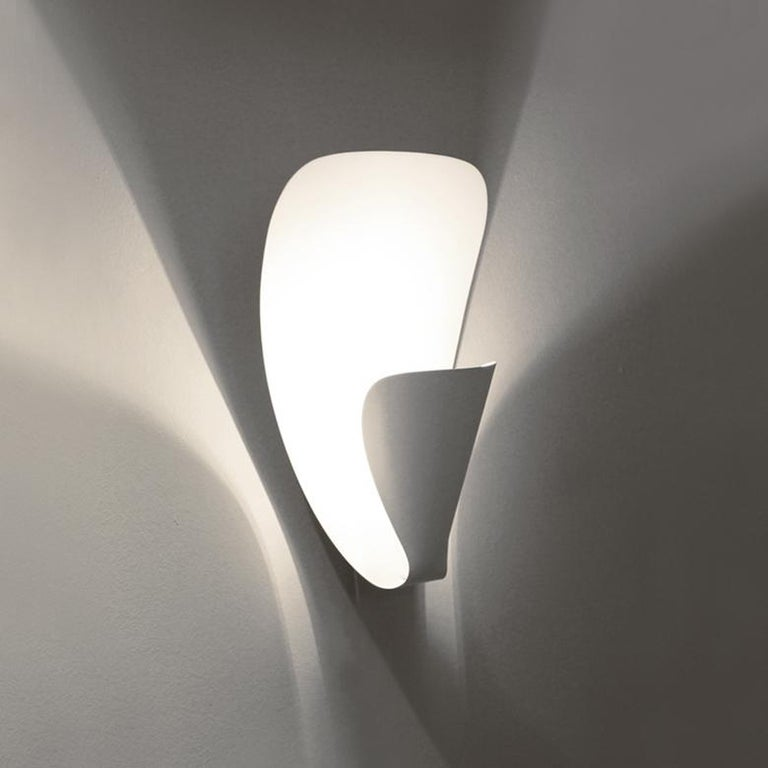 French Michel Buffet Mid-Century Modern White B206 Wall Sconce Lamp For Sale