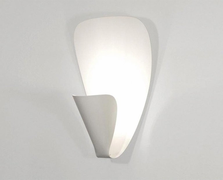 Lacquered Michel Buffet Mid-Century Modern White B206 Wall Sconce Lamp For Sale