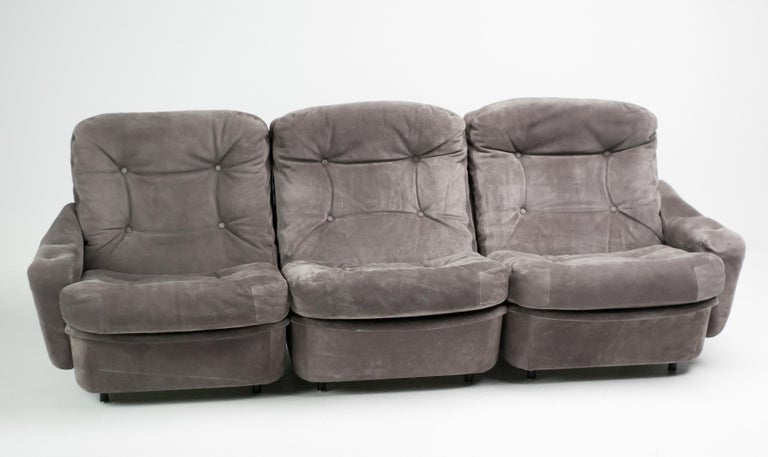 Suede Michel Cadestin Modular Sofas by Airborne For Sale