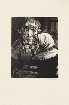 Figures - Original Black and White Etching by M. Ciry - 1964