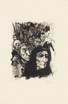 Figures - Original Black and White Etching by Michel Ciry - Mid-20th Century