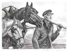 Paysan avec Chevaux - Original Etching by Michel Ciry - Mid 20th Century