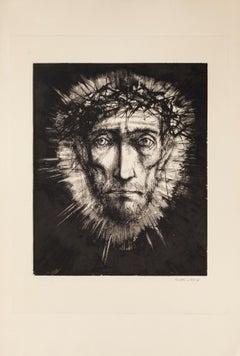 Pensive Man - Original Etching by Michel Ciry - 1964